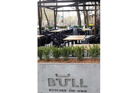 Bull butcher and wine